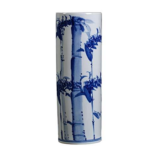 Vase Céramique Vase Classique Bambou Céramique for Living Art Déco Accueil Ménage Chambre Chambre Bureau Table avec Base Blanche 15,5 x 46 cm