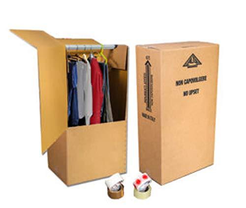 Mottola Packaging-3 Scatoloni Resistenti - 60x55 cm h 115 cm - Scatole Cartone Porta Abiti con Asta Appendiabiti - Cartoni per Trasloco Armadio -