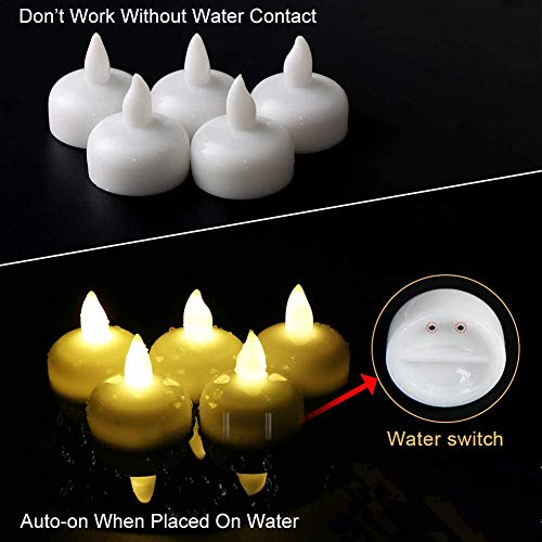 24 Pack Waterproof LED Floating Tealights, Flameless Flickering Tea Light Candles, Battery Operated Floating Candles for Wedding Centerpiece, Pool