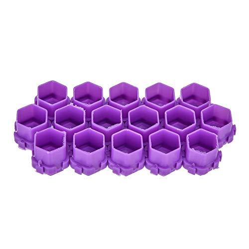 200pcs Tasses d'encre de Tatouage, Forme de Nid d'abeille Support de Pigment Pigmentable Tasses Fournitures de Tatouage pour les Artistes de Tatouage et les Débutants(Violet)