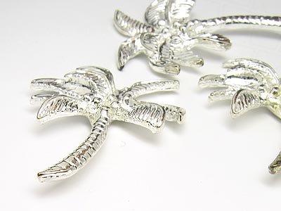 Gogoritas Schmuckzierteile Palme groß 30x25mm (Silber), 30 Stück