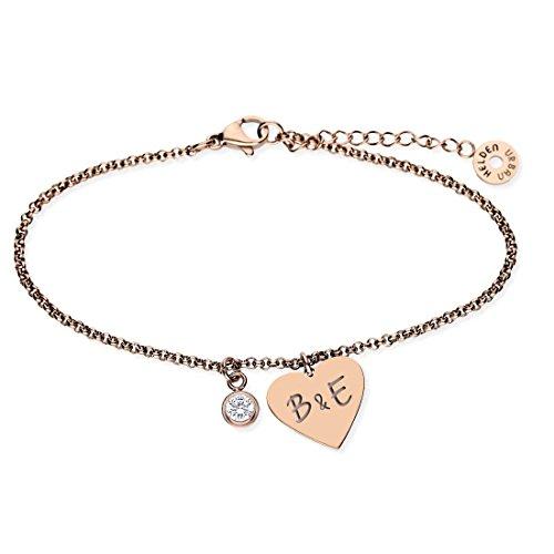 URBANHELDEN - Armband mit Herz Anhänger und Wunschgravur - Damen Schmuck Herzarmband Verstellbar, Edelstahl - Armschmuck Armkette Gravur Initialen - Rosegold G19