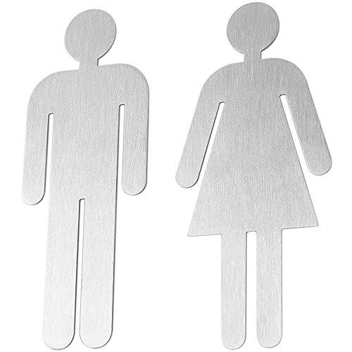 Bamodi WC Schilder Damen und Herren - Türschild Set für Toilette - 5 cm x 11 cm selbstklebend - einfach anzubringen - eindeutiges Männlein & Weiblein - Toilettenschild Edelstahl matt (1 Set)