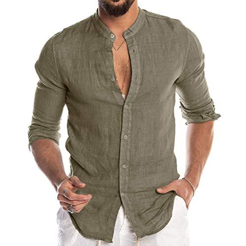 Minetom Uomo Camicia in Lino Slim Fit Henley Shirts Estate Elegante Casual Maniche Lunghe Camicie Spiaggia Regular Fit Uomo Colore Puro Classico Lavoro Shirts A Verde S