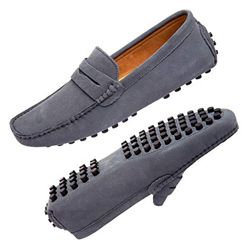 Go Tour Men's Classy Fashion Slip On Penny Loafers Casual Suede Leather Moccasins Driving Shoes Flats Classic Boat Shoes Grey 45