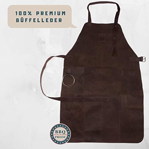 Michael Heinen Leder Grillschürze für Männer - Profi Vintage Kochschürze - Retro Küchenschürze BBQ Aprons
