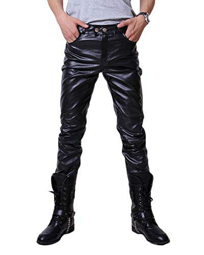 Herren Pu Faux Leder Motorradhose Protektoren Slim Fit Soft Rock Steampunk Motorradhose Biker Hose Lederhose Schwarz L