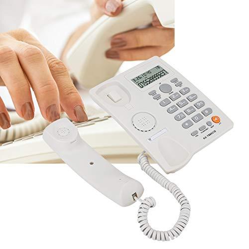 Wosune Teléfono residencial, teléfono práctico con función de reducción de Ruido para teléfono Fijo para Oficina para Hotel para hogar(White, Black)