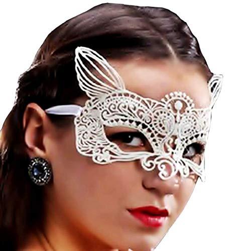 EVRYLON Maschera Pizzo Gatto Donna Sexy per Carnevale o Halloween da Donna Ragazza Mascherina Gattina Colore Bianco macramè Giochi e Accessori Cosplay per Travestimenti e Costumi Taglia Unica