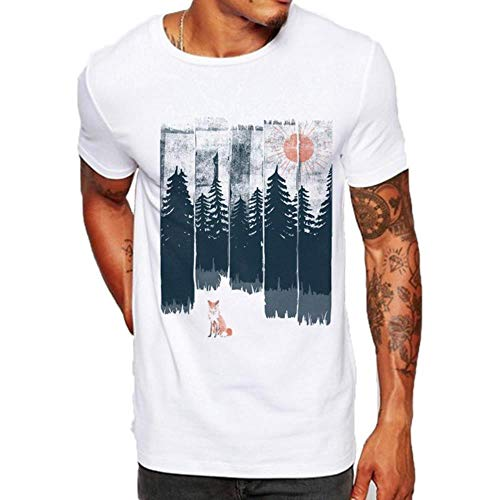Hipster Men T Shirt Slim Fit Graphic tee Funny Fox Forest Tree Gym Camisetas Estampadas Casual White Tops Streetwear, White, M