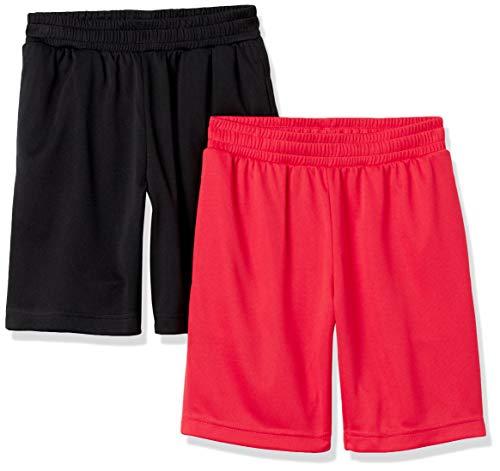 Amazon Essentials Active Performance Mesh Basketball Gym Shorts, 2er-Pack schwarz/rot, 4 Jahre