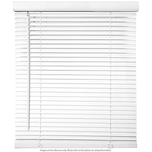 "Biltek 45"" W x 64"" H Cordless Window Blinds 1"" Slat PVC Vinyl Venetian Horizontal Privacy Shade Anti-UV White"