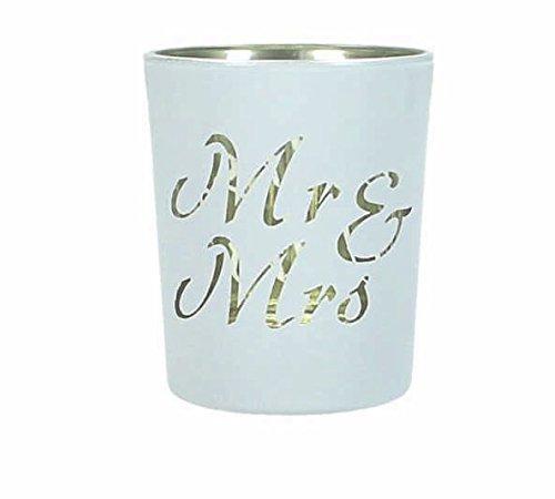 MR & MRS Windlicht 5,5x6,5cm Glas Windlichter MR and MRS Teelichthalter Hochzeit Tischdeko...
