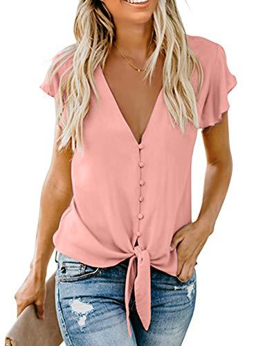 Aleumdr Damen Bluse Kurzarm Hemd V-Ausschnitt Bluse Leinen Tunika mit Konpfen Elegant Krawatte Business Casual Bluse Oberteile Hemd Pink M