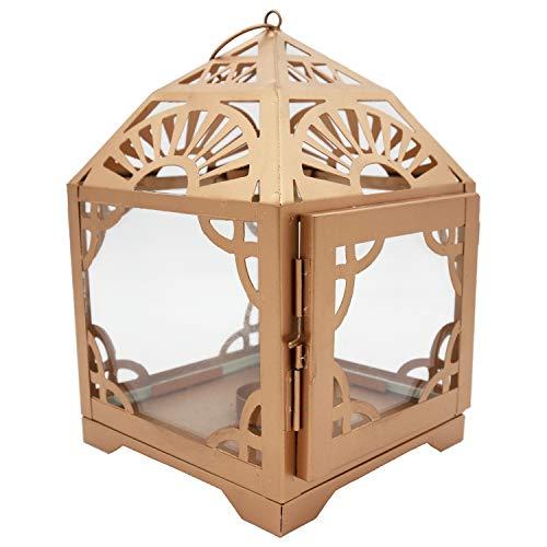 MAGHREBI LANTERN - Trendy Rose goud Marokkaanse thema, Atlas bergontwerp, ideaal voor tafellamp. Geweldig voor terras, binnen & buiten