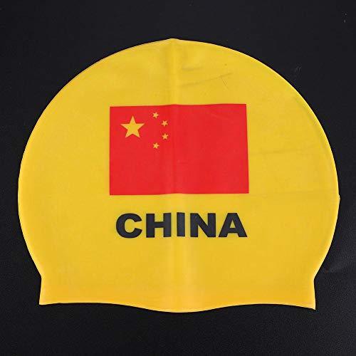 Alomejor Gorros de natación Antislip Cómodos Unisex Gorros de natación de Silicona con protección auditiva Completa Cubierta para la Cabeza Multicolor Opcional(Yellow)