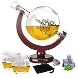 Whisky Dekanter set,Karaffe Globus Decanter,850 ml mit Eisstein,2 Whisky Gläser, 9 Whisky-Steine und Geschenktülle