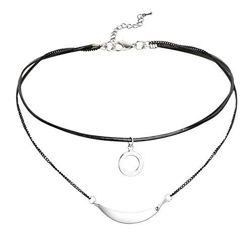 Daesar Collar Mujer,Collar Redondo con Arco Choker Colgante Cuero Mujer Negro Plata