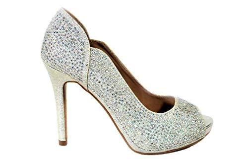 Zapatos de tacón alto para mujer, con diamantes cerrados, para boda, novia,...