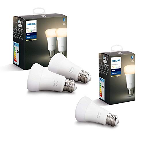 Philips Hue White, Lampadine LED Intelligenti, con Bluetooth, Luce bianca calda, Attacco E27, 9W, 3 Pezzi