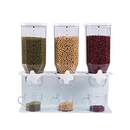 Dispensadores De Alimentos Contenedor de cereales de pared dispensador de contenedores de almacenamiento de alimentos recipientes de cereales plástico recipientes herméticos dispensador de avena dispe