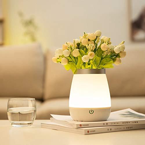 XTYZY Jarrón Blanco Simple Led Night Light Desktop Flower Pot Lamp Lámpara De Decoración Del Hogar Usb Recargable Dormitorio Lámpara De Noche