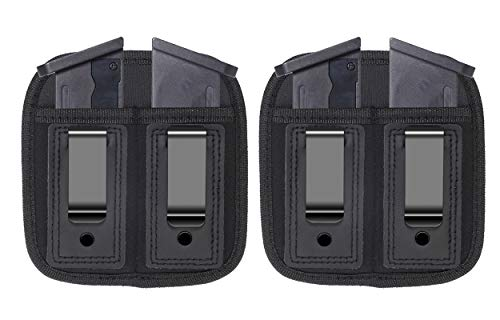 Bester 2pc Double Magazine Holder Sizes to fit virtually Any 9mm.40 or .45 Caliber Pistol Mag Single Double Stack IWB OWB Mag Pouch