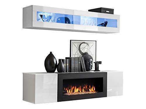 Moderne Wohnwand mit Kamin Bioethanol Flyer N2, Elegante Anbauwand mit Kamineinsatz, Schrankwand, Wohnzimmer-Set, TV-Lowboard, Vitrine (Weiß/Weiß Hochglanz)