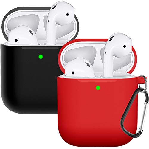 Compatible with AirPods Case Cover Silicone Protective Skin for Airpods Case 2&1 (2 Pack) Black/Red