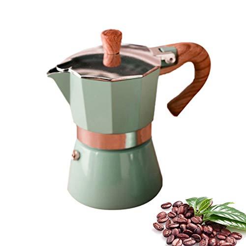 Tiamu Cafetera italiana de aluminio, Moka Express Cafetera Italiana Espresso, Aluminio (3 tazas, 150 ml), color verde