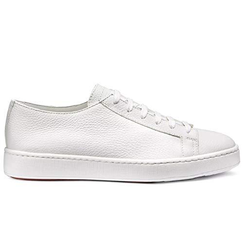Santoni Herren-Sneakers weiß aus gehämmertem Leder - MBCN14387BARCMI48 Summer I48 - Gr., Weiß - Bianco - Größe: 41 EU