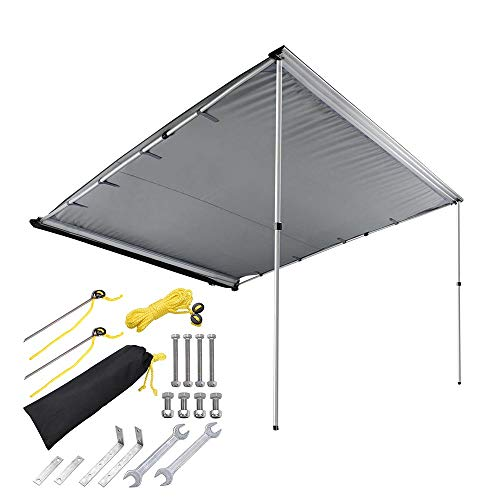 ZeHuoGe 8.2x7.6FT Car Side Awning Rooftop Pull Out Tent Shelter Adjustable Height Telescoping Poles with Twist-Lock Design PU2000mm UV50+ Shade SUV Outdoor Camping Travel US Delivery (Grey)