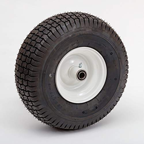 Lapp Wheels 15' Pneumatic Wheel, Wagon/Tricycle/Utility cart Replacement, White, Turf 4 ply Tread