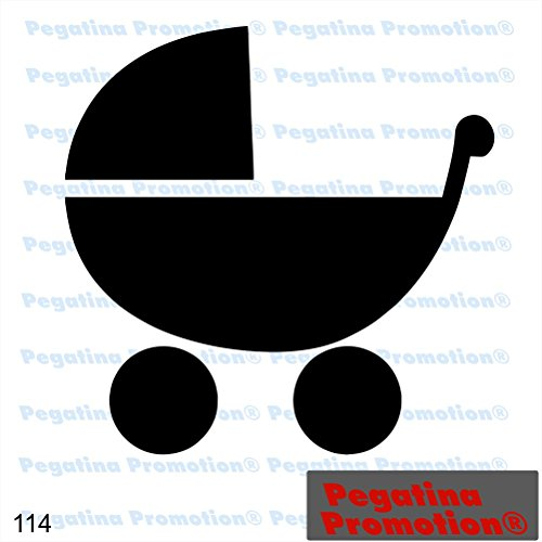 Piktogramm Typ 114 Icon Symbol Zeichen Kinderwagen Buggy Baby Aufkleber Sticker ca.15cm von Pegatina Promotion® Aufkleber mit Verklebehilfe von Pegatina Promotion® ohne Hintergrund geplottet
