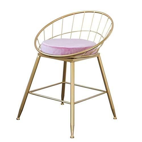 ZfgG stoel met rugleuning voor de keuken, voetenbank, zithoogte 45 cm, hoge kruk van velours, moderne stoel voor horeca | Legs Bar Stool Industrial Metaal | Frame goud