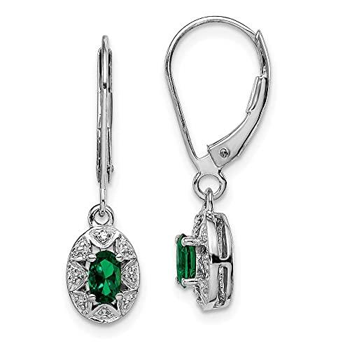 Pendientes colgantes de plata de ley 925 con diamante y esmeralda