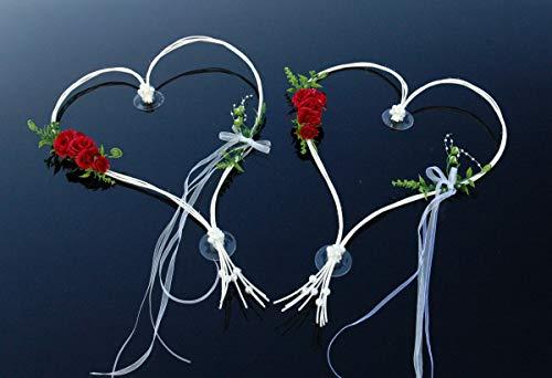 Auto-schmuck Decoración para el Coche, diseño de Corazones románticos, Novia, Pareja, Rosa, decoración para Boda, Coche, decoración (Rojo 6)
