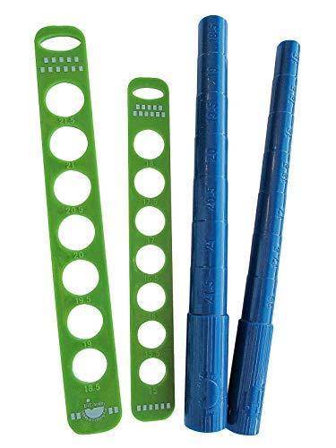 efco 4-teiliges Set zum Messen von Ringdurchmessern, Messgerät und Stab, Blau/Grün, 15–18mm Durchmesser