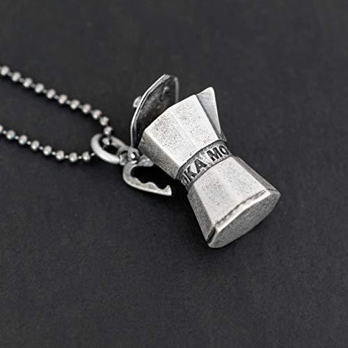 Sterling Silber Halskette für Männer Geschenk Anhänger für Männer Espressokanne Anhänger Halskette Percolator Kaffee Halskette Halskette Kaffee Liebhaber Geschenk