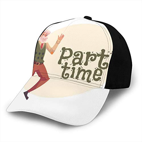 Hip Hop Sun Hat Baseball Cap,Gray-Haired Old Man with Beard Dancing Happily Cartoon Style Party Time,For Men&Women