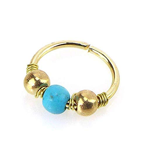 Allshiny Earrings Ornaments Stainless Steel Nose Ring Turquoise Nostril Hoop Nose Earring Piercing Jewelry (Color : Gold, Size : 10MM)