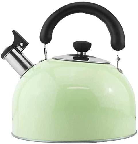 SOVETOP Chaudière Sifflant Candy Bouilloire de thé Teaby Table de cuisson en acier inoxydable Théière Cuisinière à gaz Universal, Bouilloire (Couleur, Vert, Taille, 3L),vert,5L.