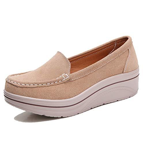Zapatos de Plataforma para Mujer Ocio Resbalón en Suela Gruesa Usable Cuña Confort Punta Redonda Zapatos Creepers Street Walking