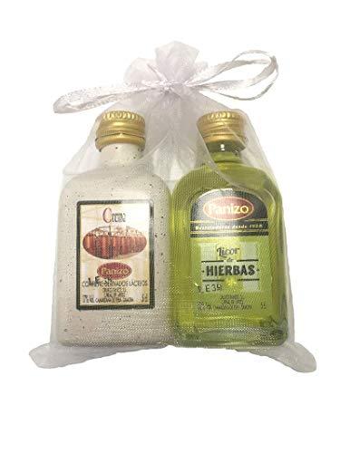 Pack de miniaturas de licor panizo en bolsa de organza (Crema de Orujo + Hierbas)