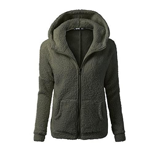 Tekaopuer Sudaderas para mujer, sudadera con capucha lisa para invierno, forro polar con cremallera, Z2-verde, M