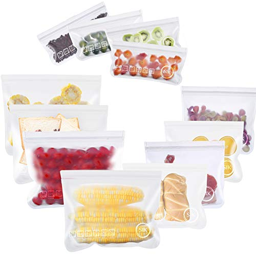 Reusable Storage Bags - 12 Pack BPA FREE Leakproof Freezer Bags(4 EXTRA THICK Reusable Sandwich Bags...