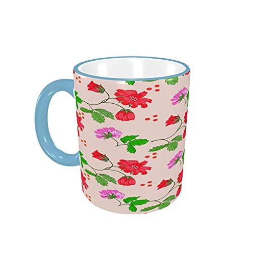 Taza de café, Rojo Floral, Hermosas Flores Lindas, Tazas de café, Tazas de cerámica con Asas para Bebidas Calientes, café con Leche, té, Cacao, Taza de té, Regalos de café, 12 oz,Forest Green