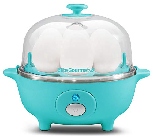 Elite Gourmet EGC-007T Easy Electric 7 Egg Capacity Soft, Medium, Hard-Boiled, Poacher, Omelet Cooker with Auto Shut-Off and Buzzer, BPA Free, Teal