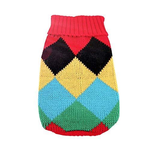 LIUCHANG Lindo suéter de perro pequeño de dibujos animados ropa de invierno caliente para mascotas ropa para perros cachorro traje (color: colorido rombico, tamaño: 12) liuchang20