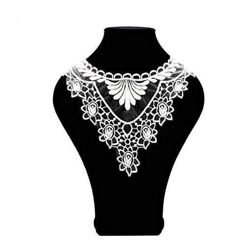 Accesorios de tela para bricolaje, collar, encaje de lujo bordado largo de pavo real, cuello de cuello de pavo real, apliques de costura – blanco